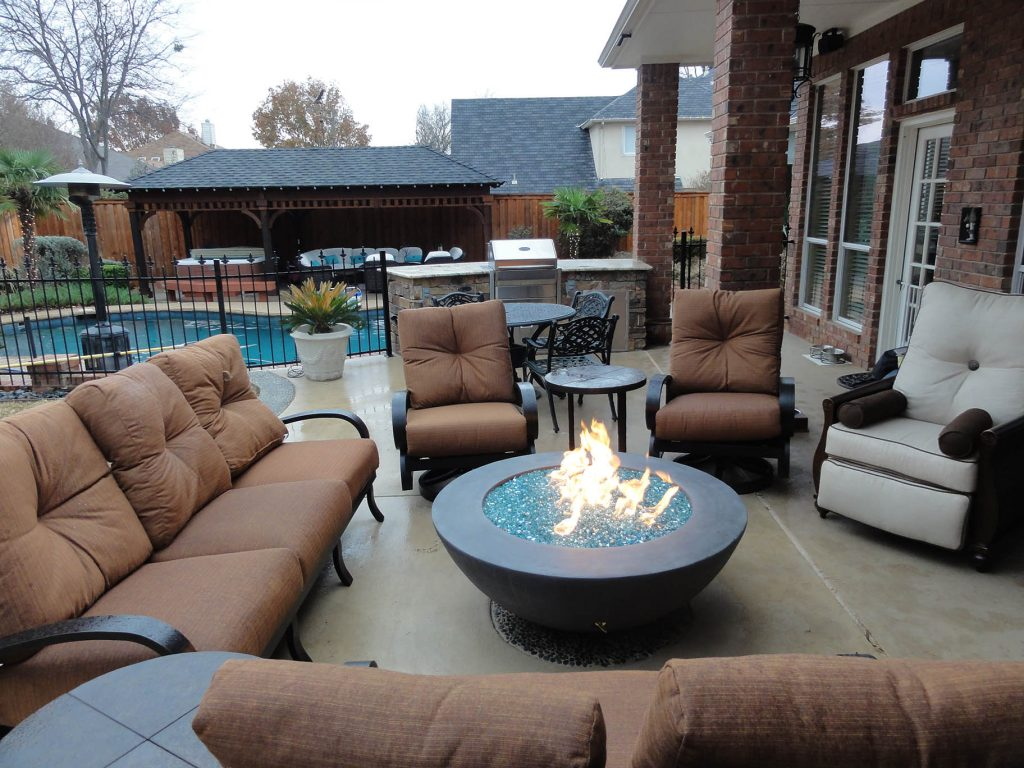 outdoor kitchen and fireplaces