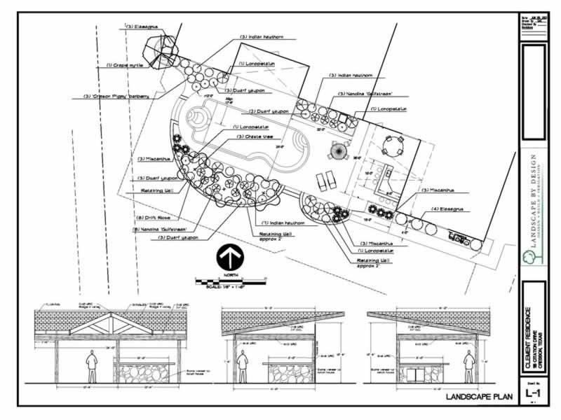A Landscape Design Blueprint With Back Yard Kitchen