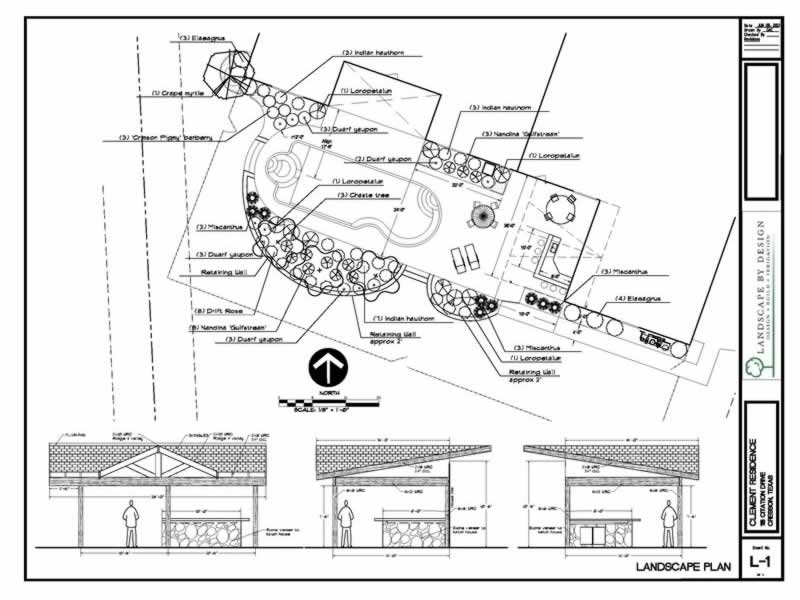 A landscape design blueprint with a back yard kitchen