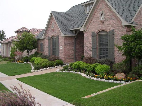 Residential front yard with a newly designed landscaping